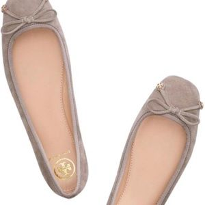 Tory Burch Laila Suede Ballet Flats Driver Bow 8